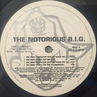 THE NOTRIOUS B.I.G.:ONE MORE CHANCE(LABEL SIDE-A)